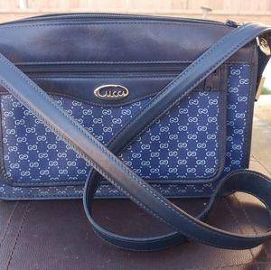 Vintage Gucci Shoulder Bag Rare blue coated canvas